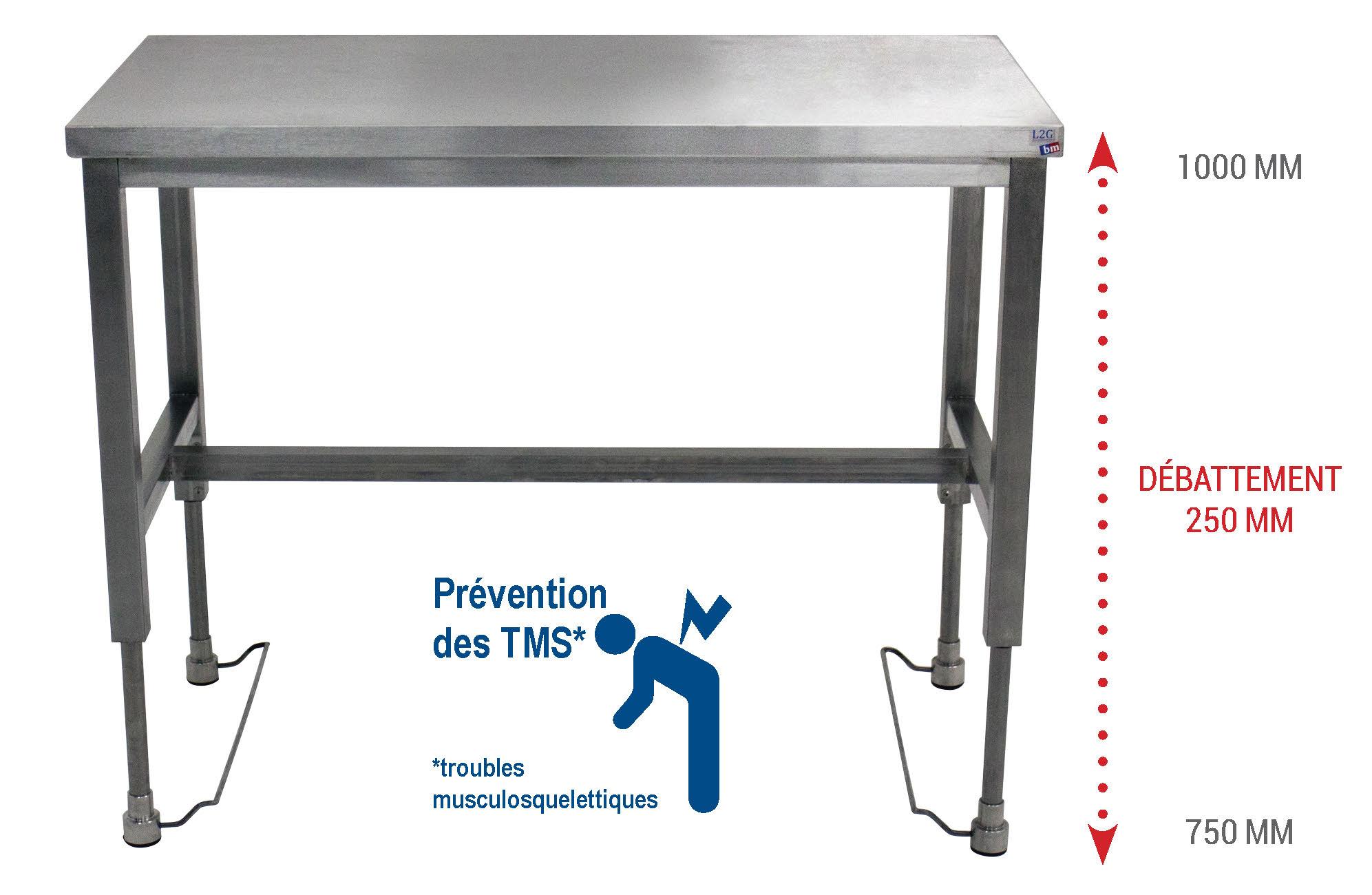Les tables l2g hauteur r glable sans branchement - Table de travail reglable en hauteur ...